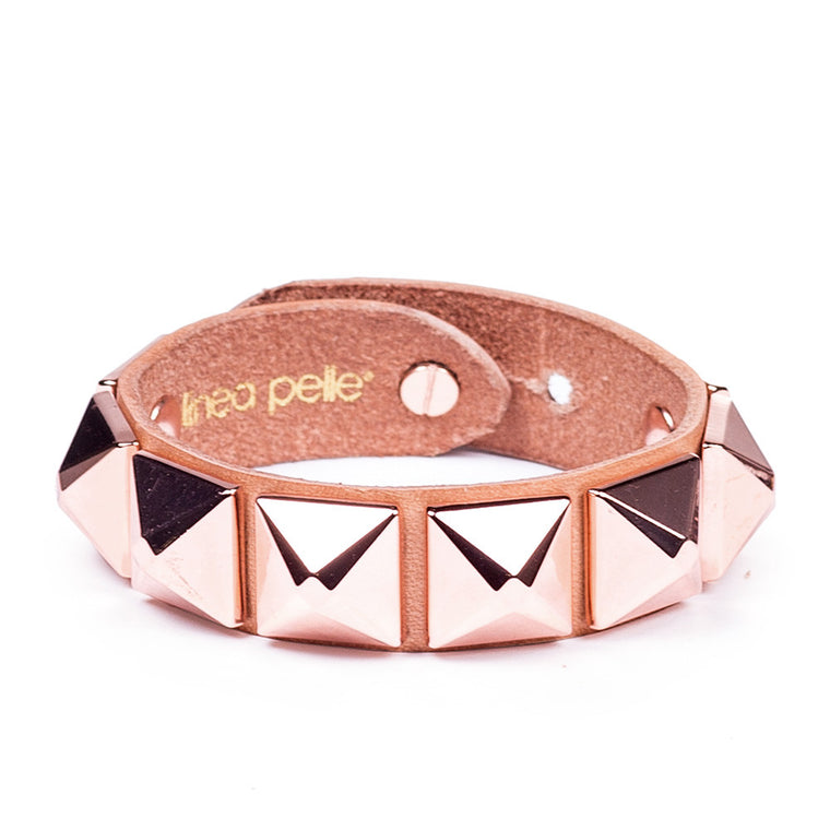 Linea Pelle Stud Bracelet in Natural Rose Gold