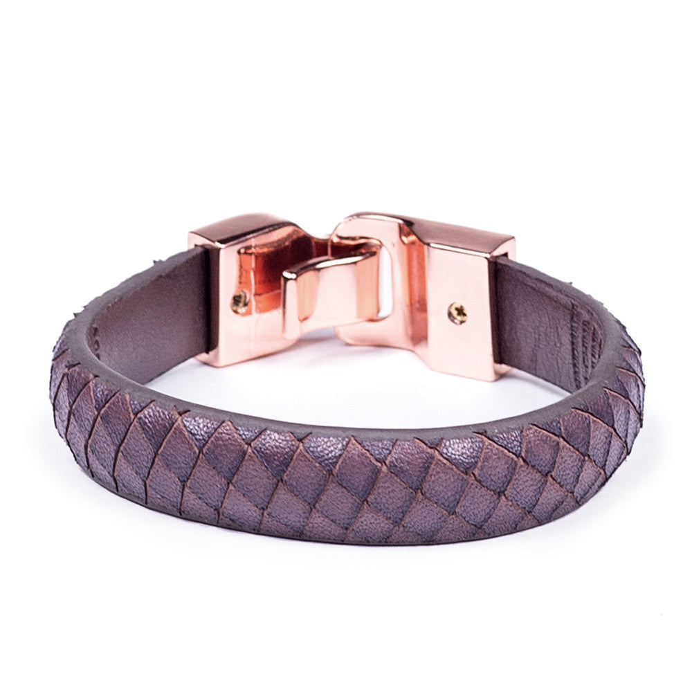 Linea Pelle Hook Closure Bracelet in Brown