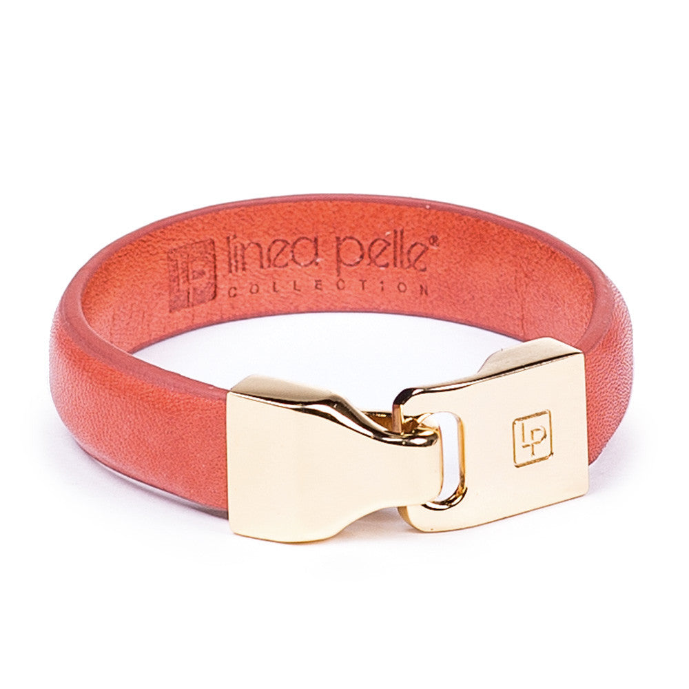 Linea Pelle Hook Closure Bracelet in Orange