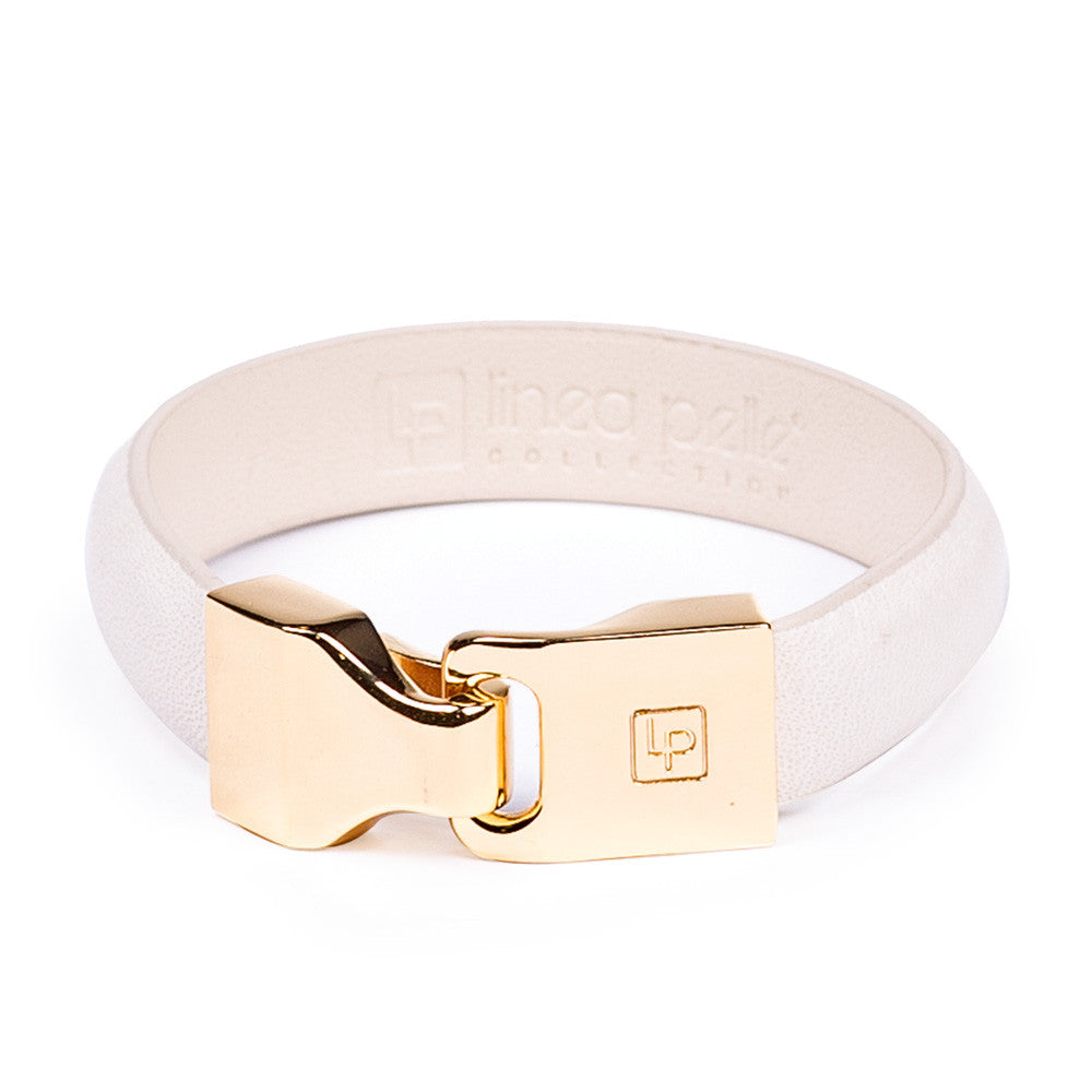 Linea Pelle Hook Closure Bracelet in White
