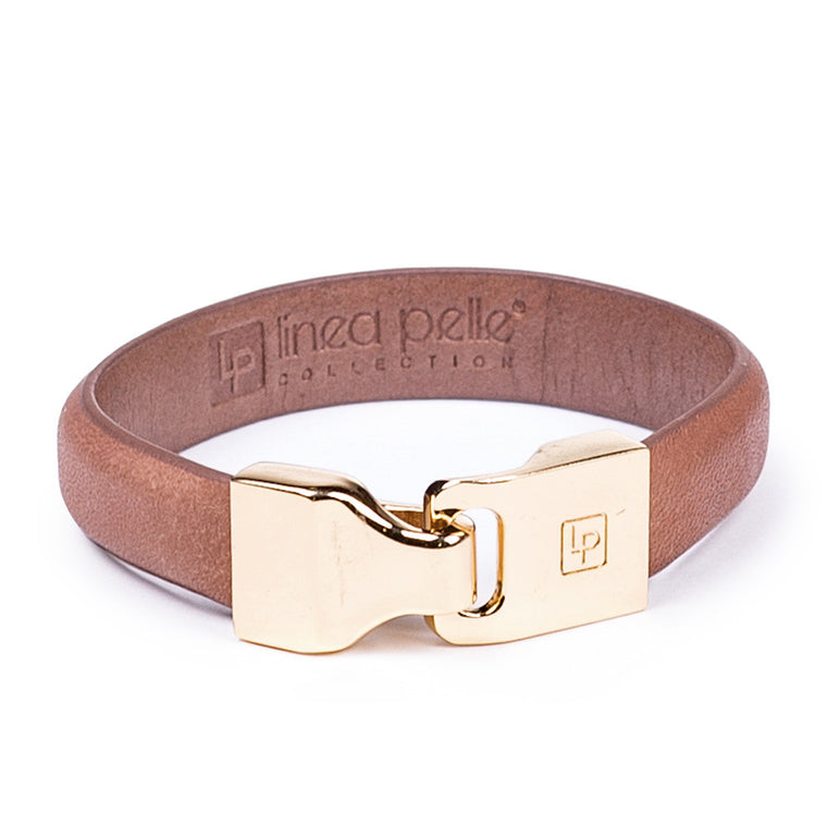 Linea Pelle Hook Closure Bracelet in Tan
