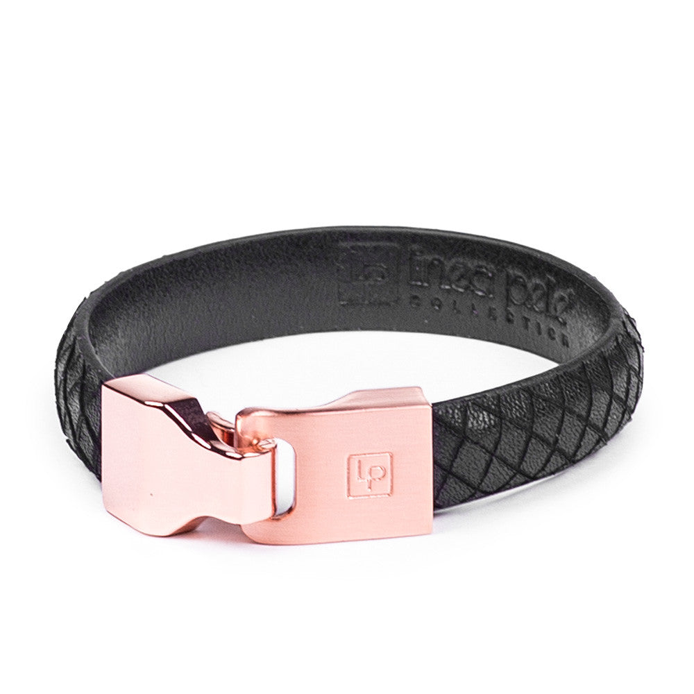 Linea Pelle Hook Closure Bracelet in Black Rose Gold