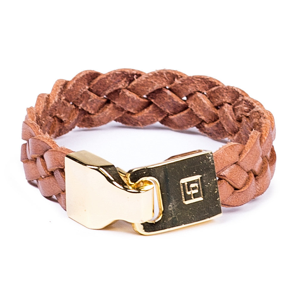 Linea Pelle Braided Hook Closure Bracelet in Tan
