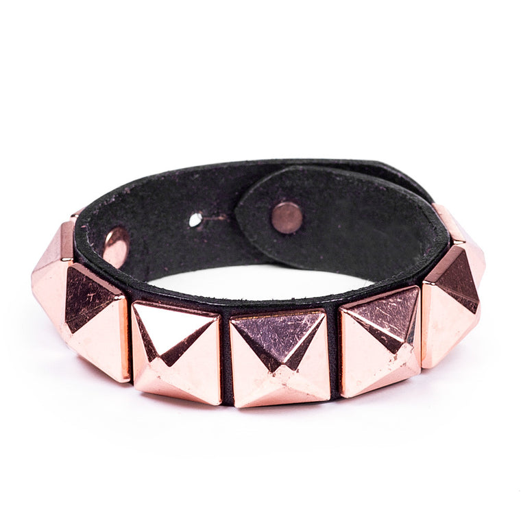 Linea Pelle Stud Bracelet in Black Rose Gold