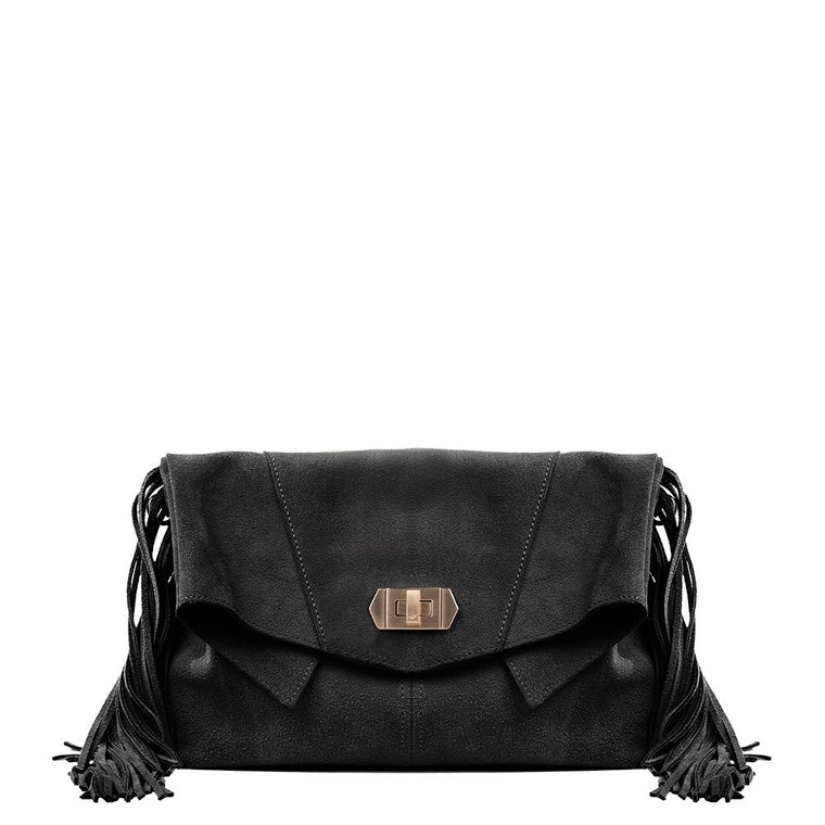 Linea Pelle Stevie Fringe Clutch in Black