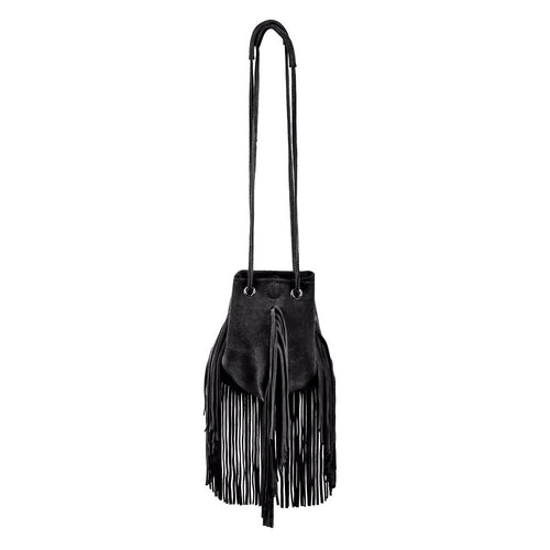 Linea Pelle Stevie Petite Fringe Crossbody in Black