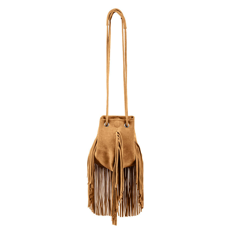 Linea Pelle Stevie Petite Fringe Crossbody in Cognac