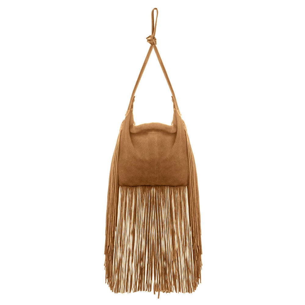 Linea Pelle Stevie Fringe Crossbody in Cognac