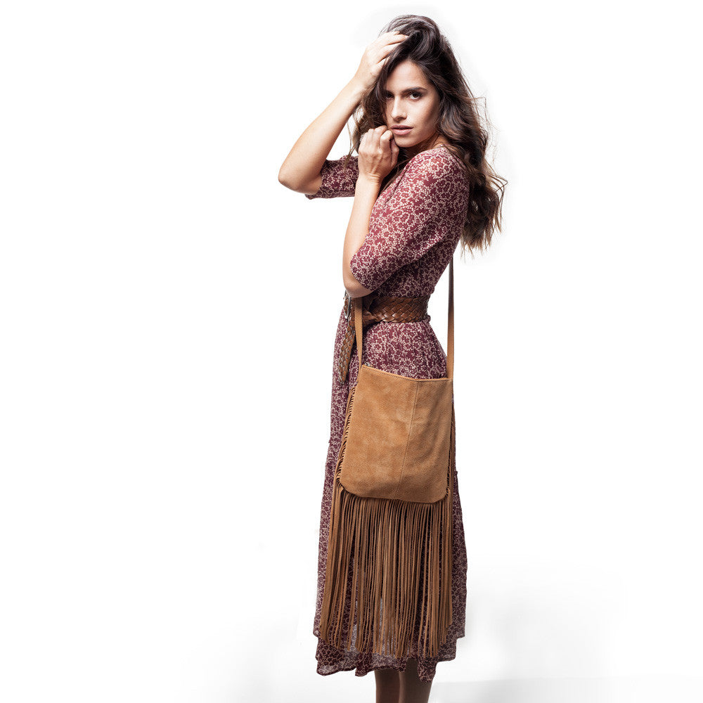 Linea Pelle Stevie Fringe Crossbody Bag in Camel