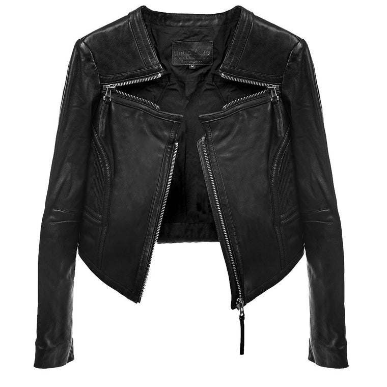 Linea Pelle Triple Zip Crop Jacket in Black