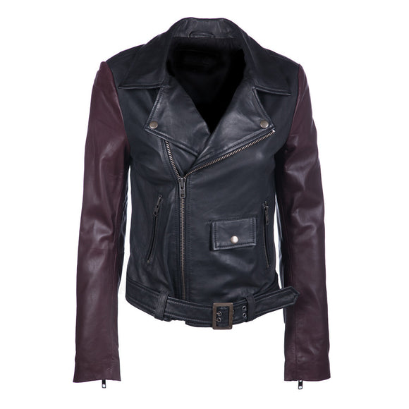 Color Block Leather Jacket