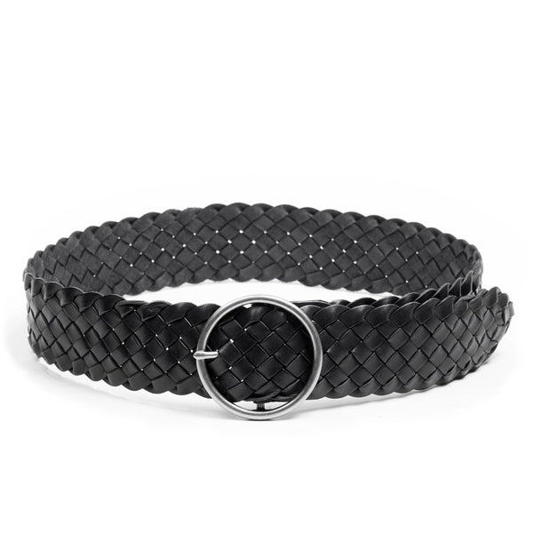 Linea Pelle Round Buckle Braided Belt in Black