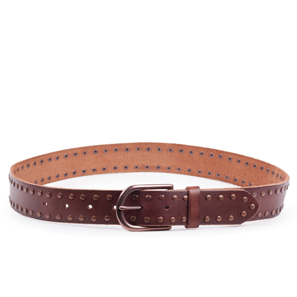 Linea Pelle Nico Stud Hip Belt in Rust