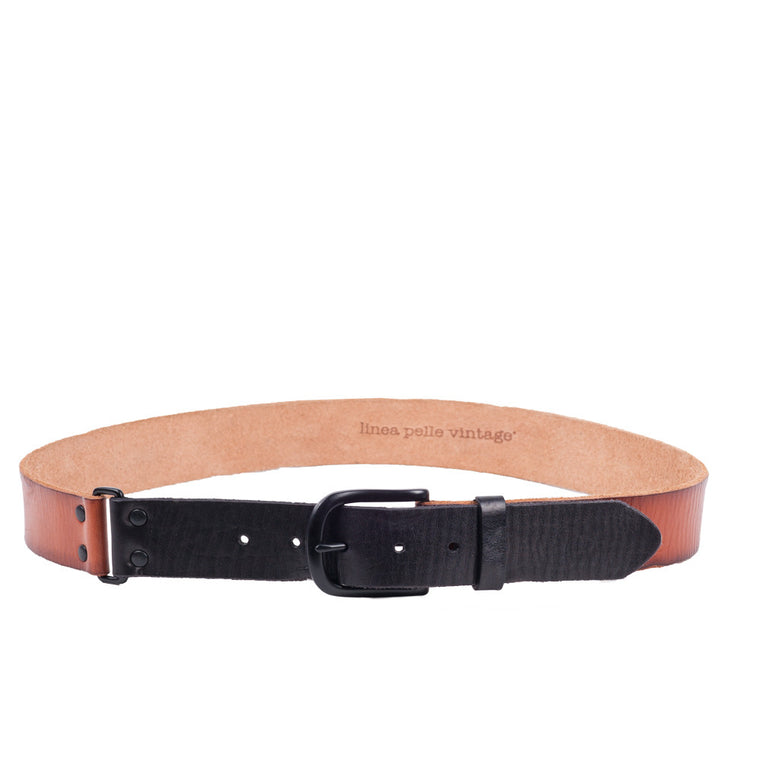 Linea Pelle Color Block Hip Belt in Cognac/Black