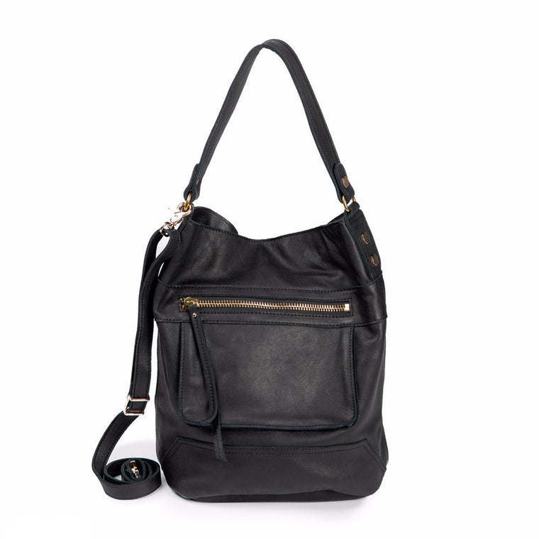 Linea Pelle Walker Bucket Bag in Washed Black
