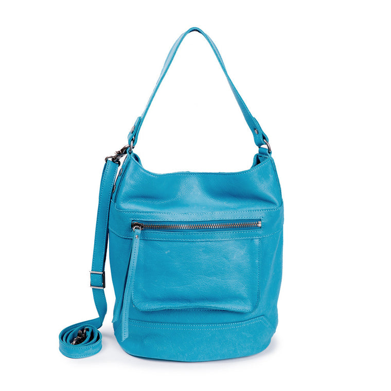 Linea Pelle Walker Bucket Bag in Washed Turquoise