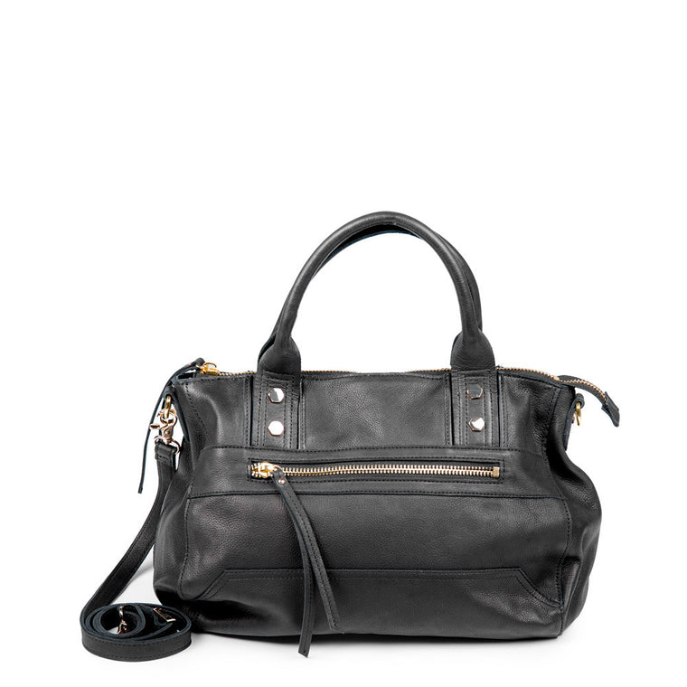 Linea Pelle Walker Satchel Bag in Black