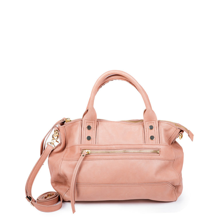 Linea Pelle Walker Satchel Bag in Washed Natural