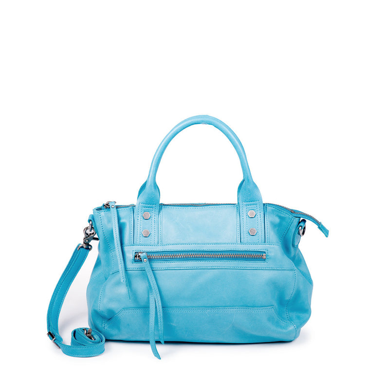 Linea Pelle Walker Satchel Bag in Washed Turquoise