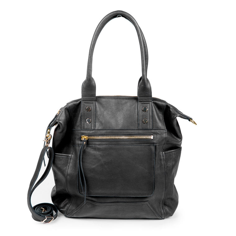 Linea Pelle Walker Tote Bag in Washed Black