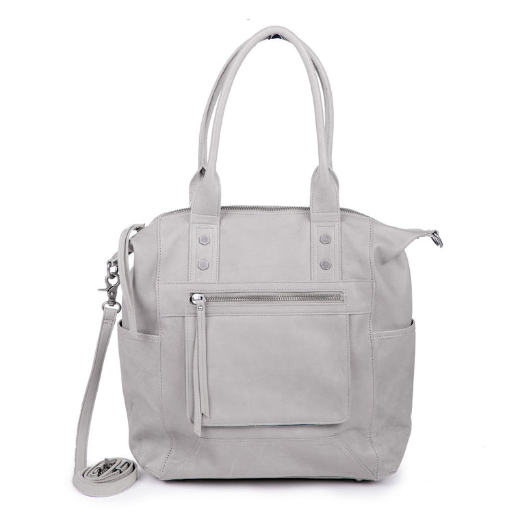 Linea Pelle Walker Tote Bag in Washed Grey