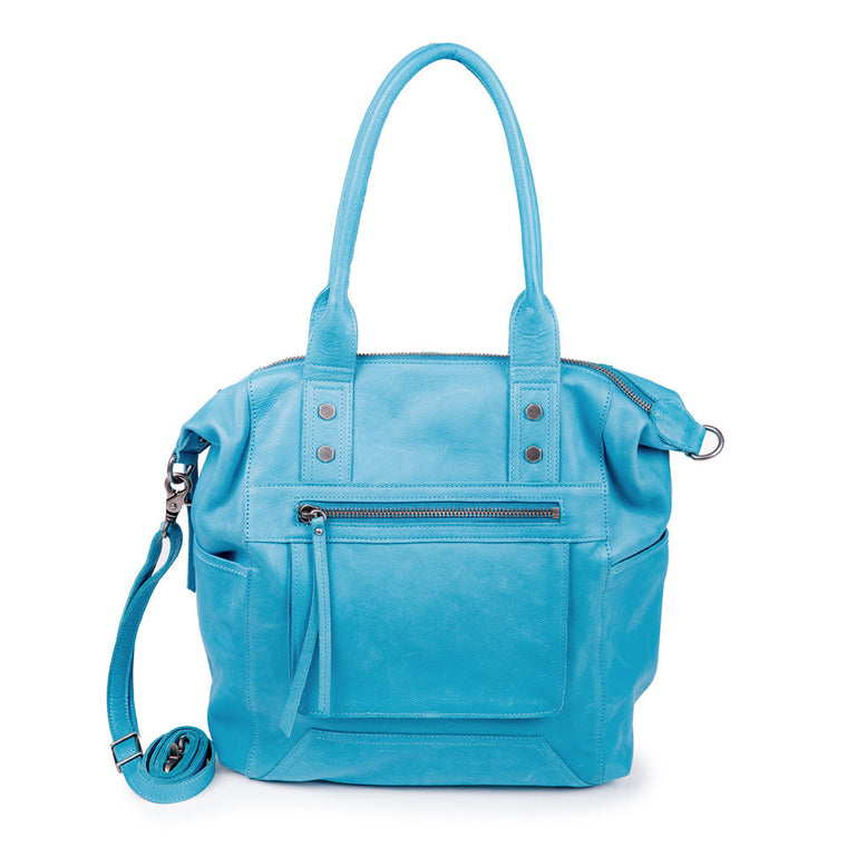 Linea Pelle Walker Tote Bag in Washed Turquoise