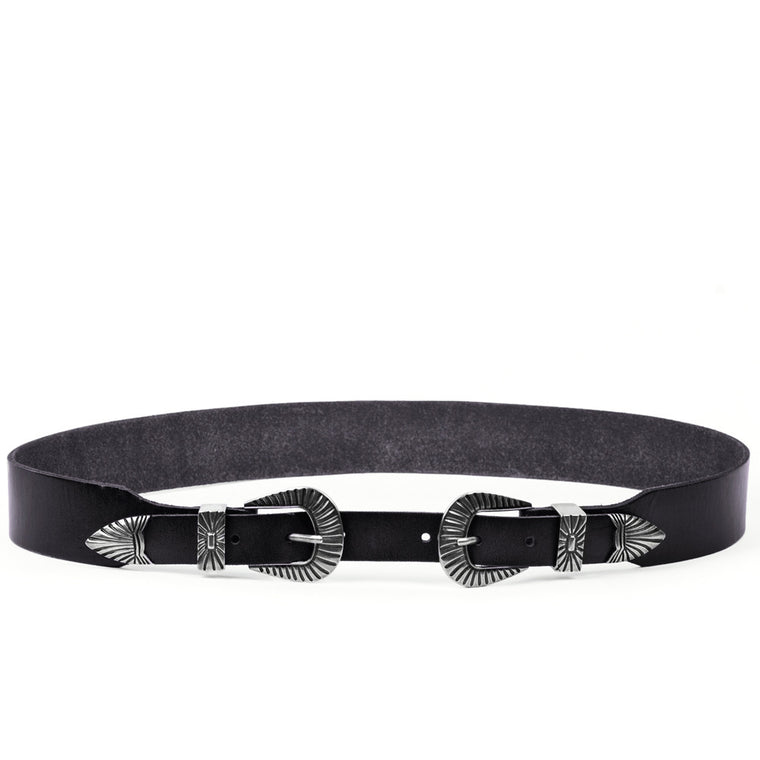 Linea Pelle Double Buckle Belt in Black