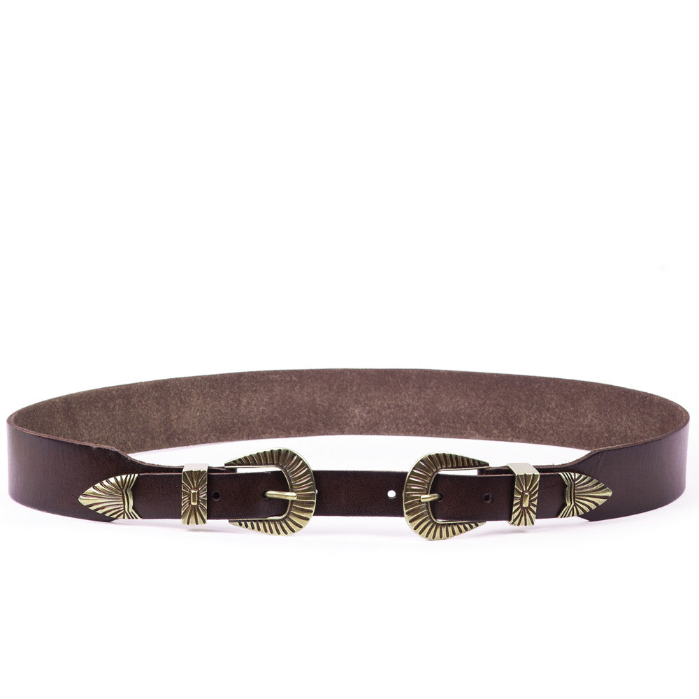 Linea Pelle Double Buckle Belt in Tmoro
