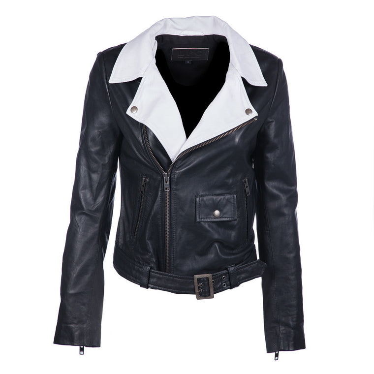 Contrast Leather Jacket