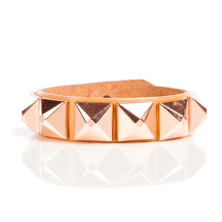 Linea Pelle Wide Stud Bracelet in Natural