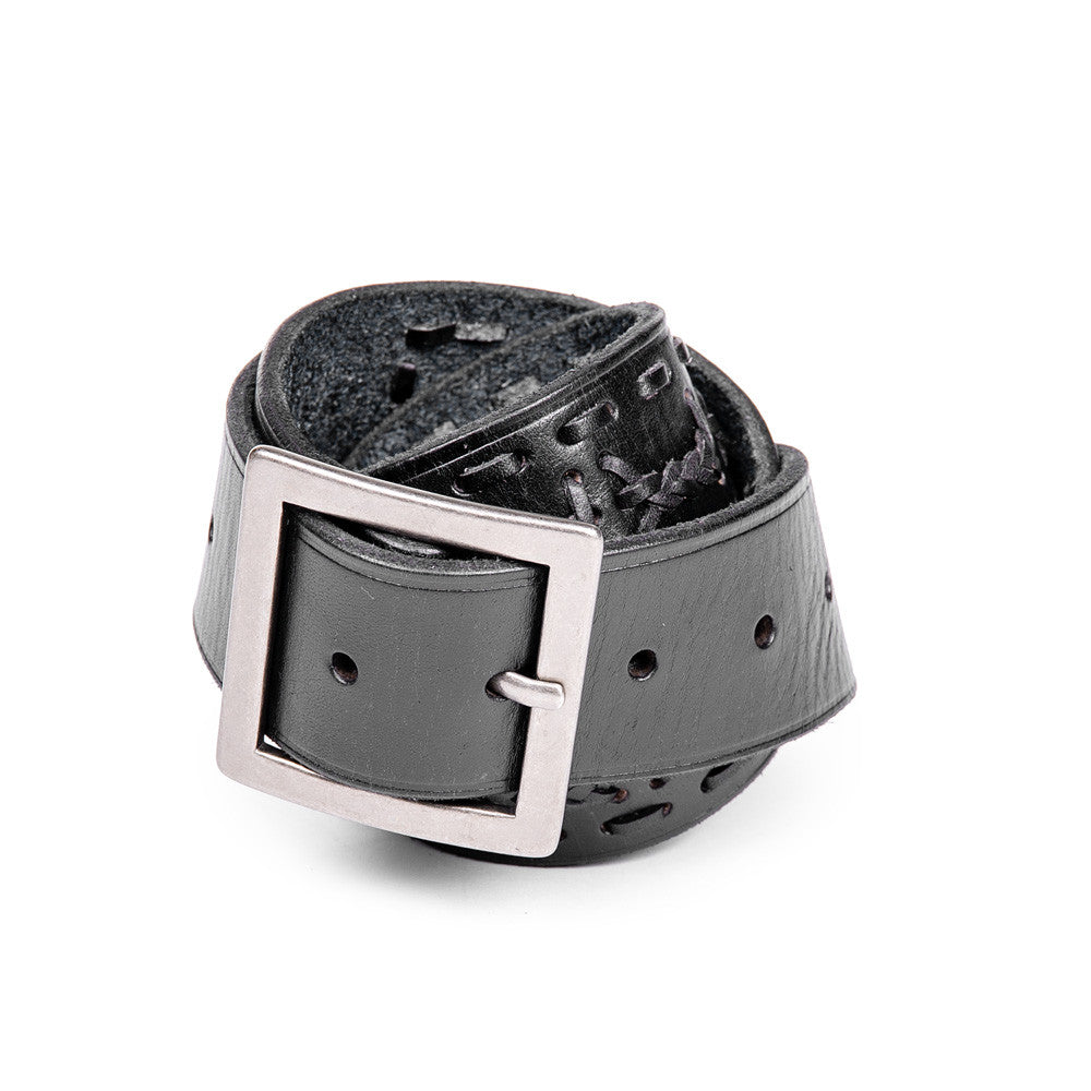 Linea Pelle Men's Square Buckle Belt in Black