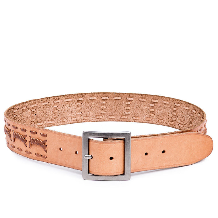 Linea Pelle Men's Square Buckle Belt in Cognac