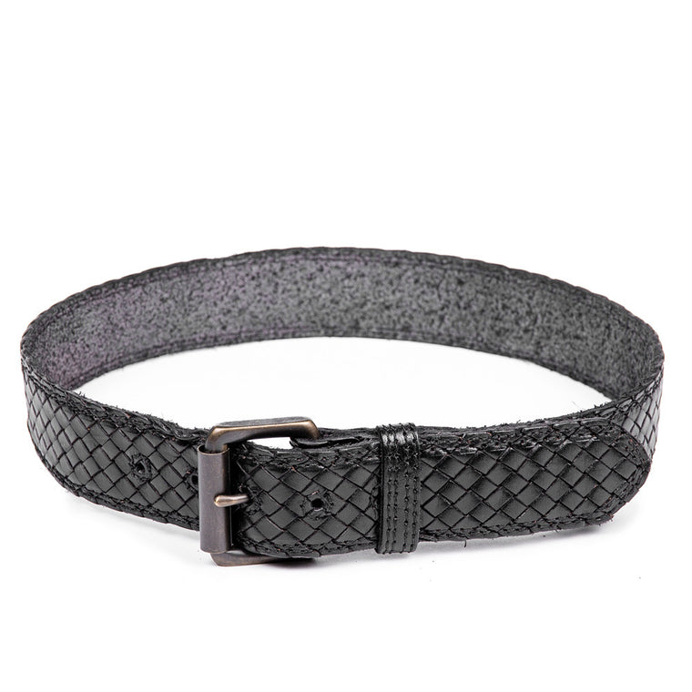 Linea Pelle Men's Woven Belt in Black