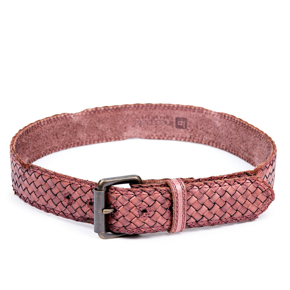 Linea Pelle Men's Woven Belt in Bordeaux