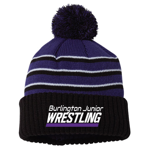Burlington Junior Wrestling 2020 Stripe Pom Beanie with Cuff