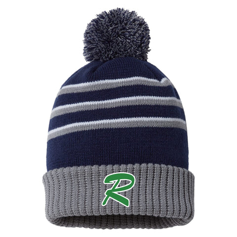 Lady Rebels Stripe Pom Cuffed Beanie