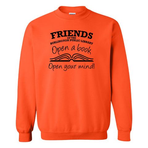 Friends of the Library Orange Crewneck Sweatshirt