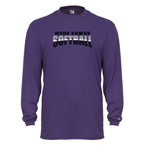 Mudd Dawgs 2020 Purple Softball Badger B-Core Long Sleeve T-Shirt