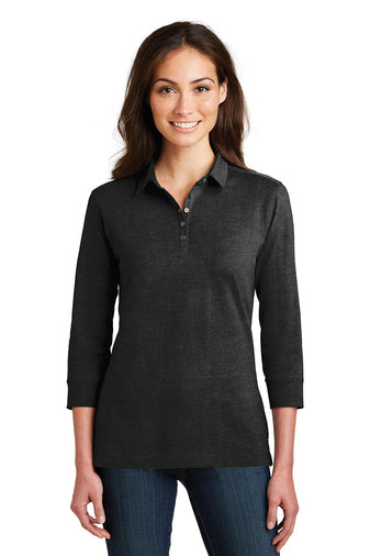 YHFS Ladies 3/4 Sleeve Meridian Cotton Blend Polo