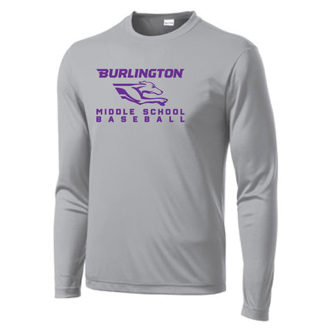 Burlington Middle School Baseball Sport-Tek Long Sleeve PosiCharge Competitor Tee