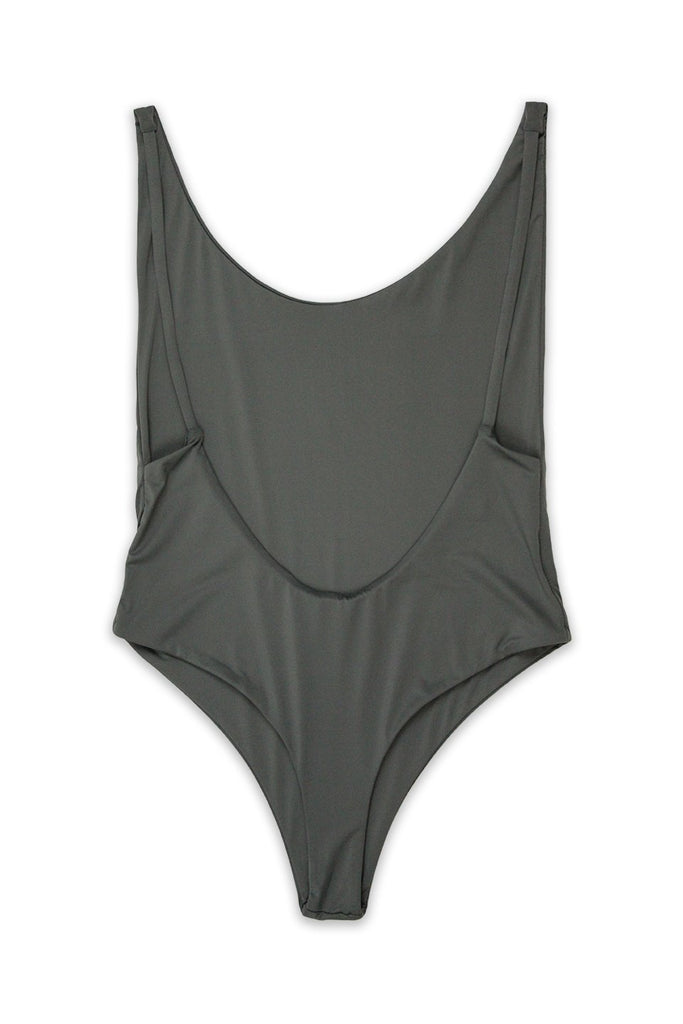 Ada High Cut Thong One Piece in Dark Silver