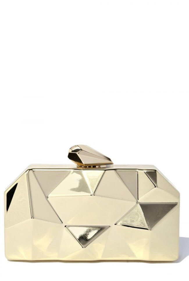Geometrical Metallic Gold Clutch