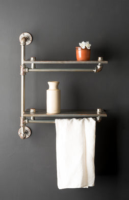 Two Tier Industrial Style Metal Pipe Steel Wall Shelf Home Furniture - Whaleycorn
