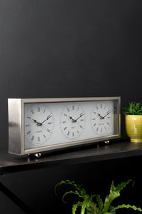 Three Time Zones Silver Mantle Clock Brushed Steel London New York Paris - Whaleycorn