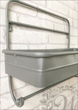 Industrial Style Single Tray Wall Storage with Bathroom Towel Rail - Whaleycorn