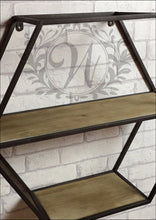 Industrial Style Hexagonal Wall Storage Two Shelves Iron Metal and Wood Shelf - Whaleycorn
