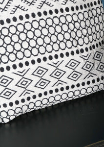 Aztec Design Cushion White Black Patterned Cotton Polyester - Whaleycorn