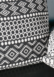 Aztec Design Cushion Black White Patterned Cotton Polyester - Whaleycorn