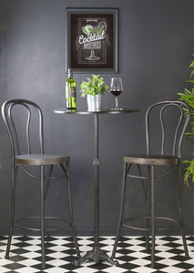 Tall Iron Table and Chairs Wine Bar Set Cocktail Vintage Pub Retro Style Brushed - Whaleycorn
