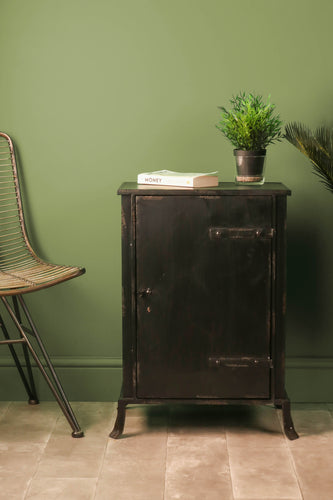 Industrial Style Bedside Cabinet Black Iron Metal Vintage Storage Unit